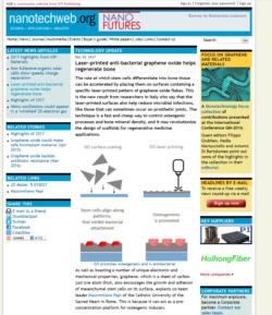 Nanotechweb.org on laser printed bone tissue by graphene