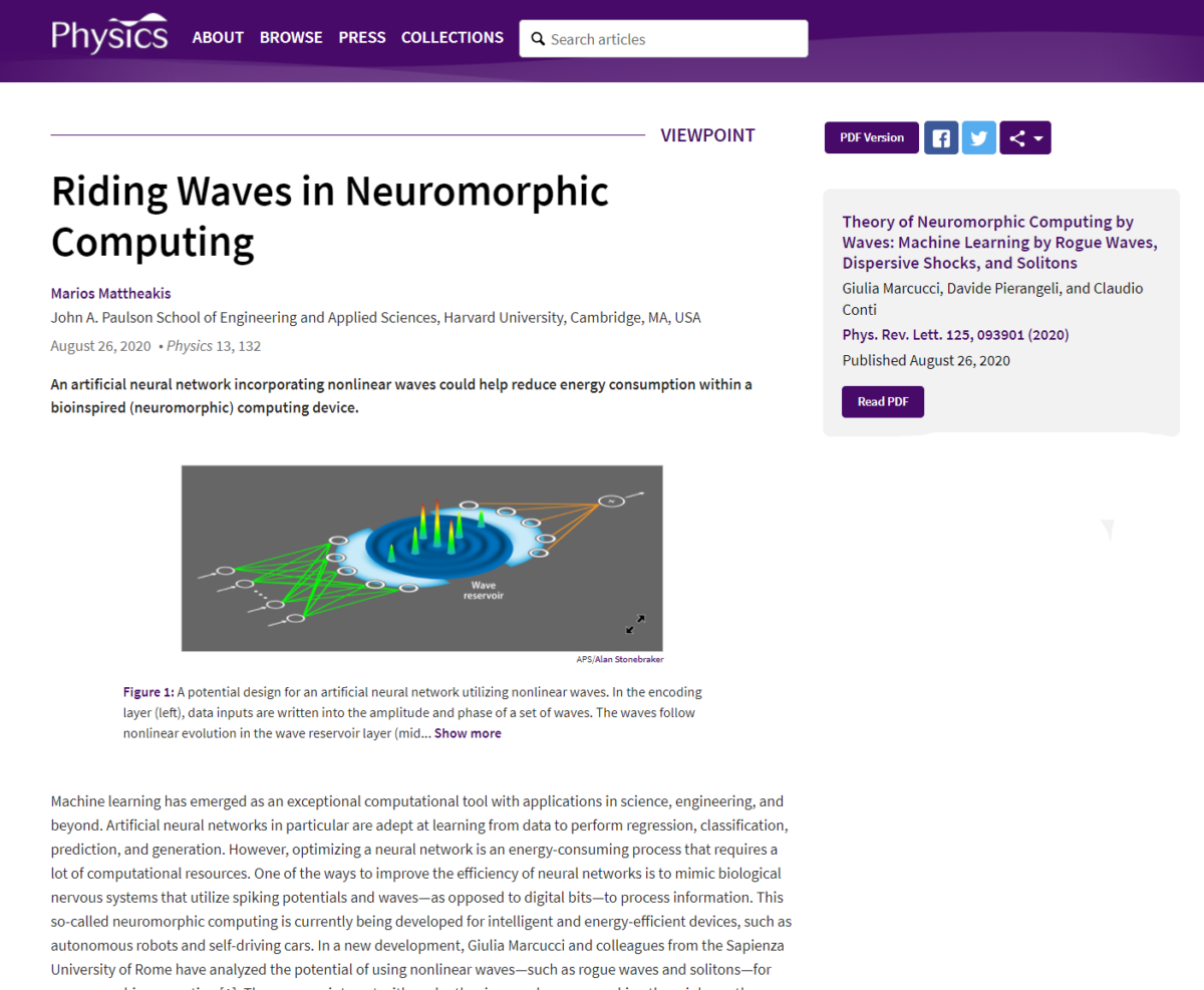 "Our ""machine learning with nonlinear waves"" paper featured in Physics!"